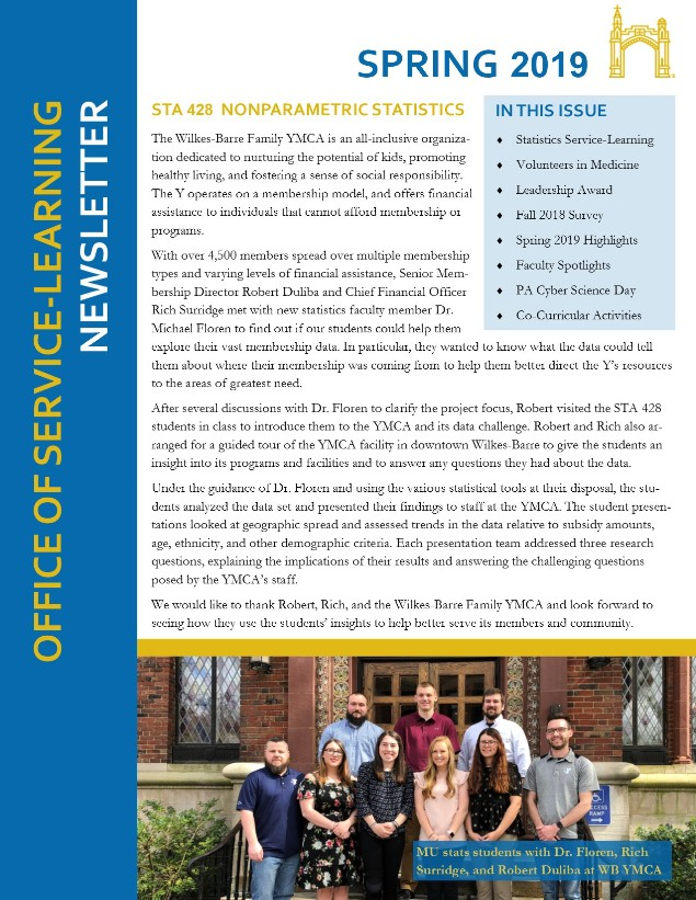 Download the Spring 2019 Office of Service Learning Newsletter